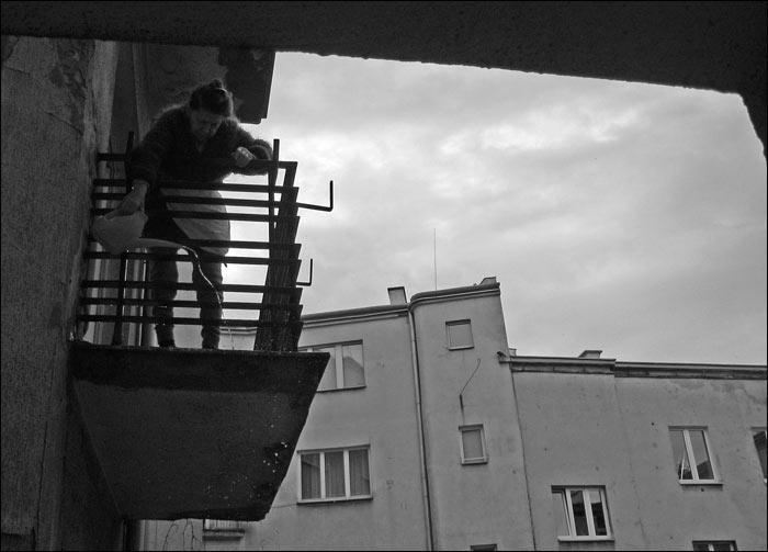 podwórko, balkon, podlewanie