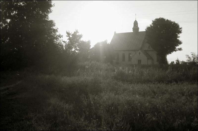 kościół, zachód słońca, Tarłów