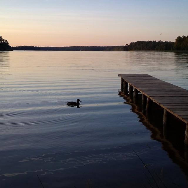 mazury, jezioro, pomost, wieczór