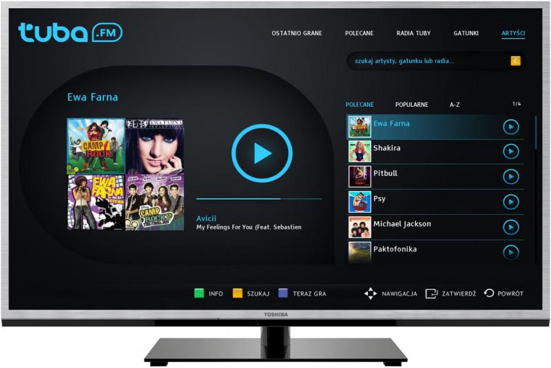 aplikacja tuba.FM w telewizorach Toshiba (wygląd aplikacji)