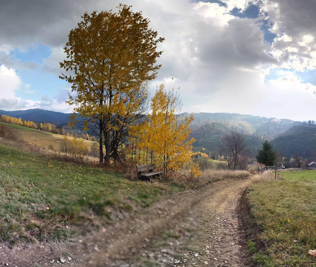 jesień, polska, góry, wisła malinka, droga