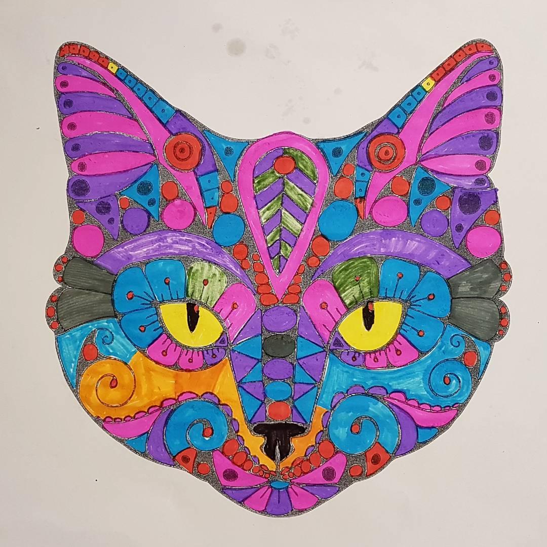 kot, oczy, mandala, kolorowanka