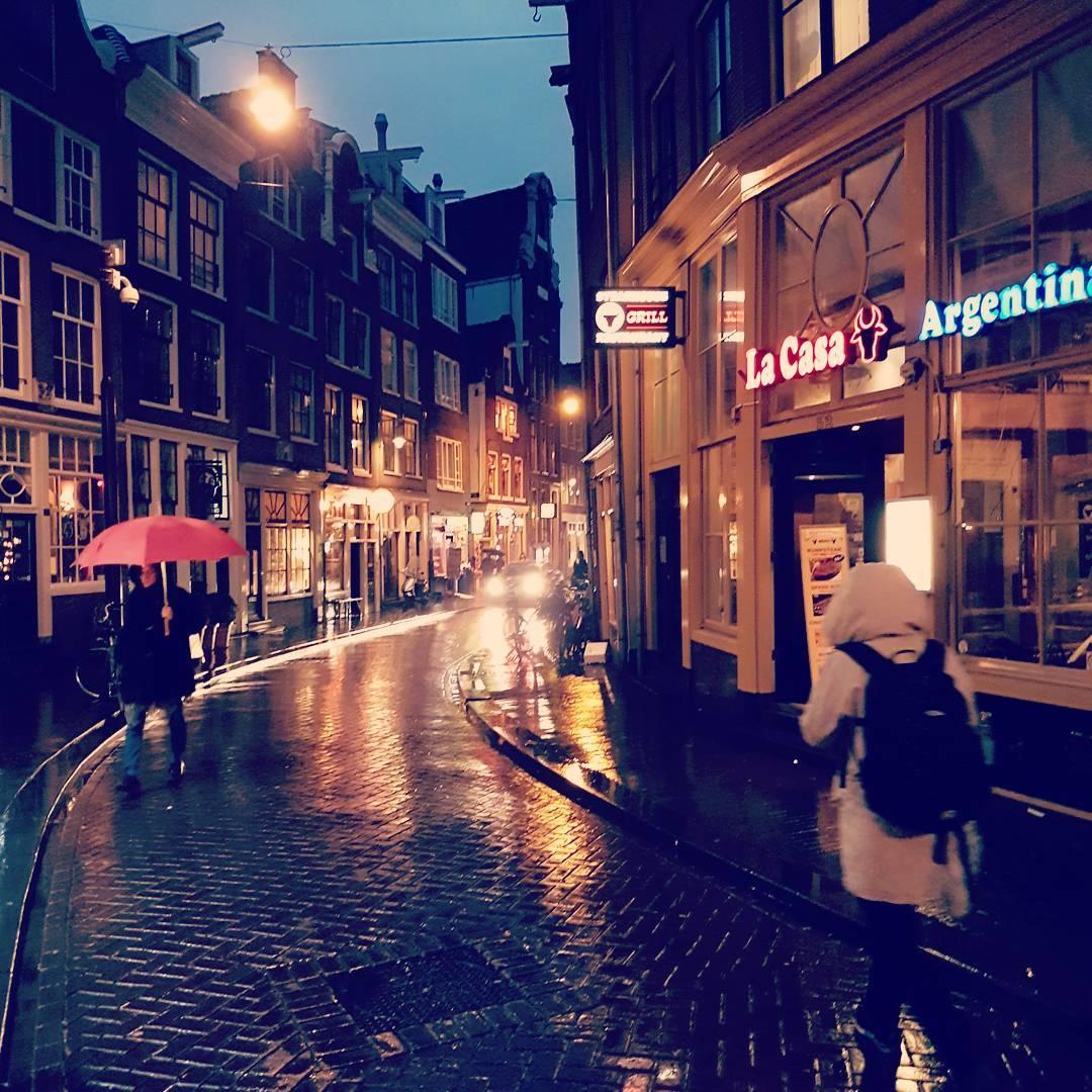 amsterdam, holandia, ulica, miasto, pocztówka