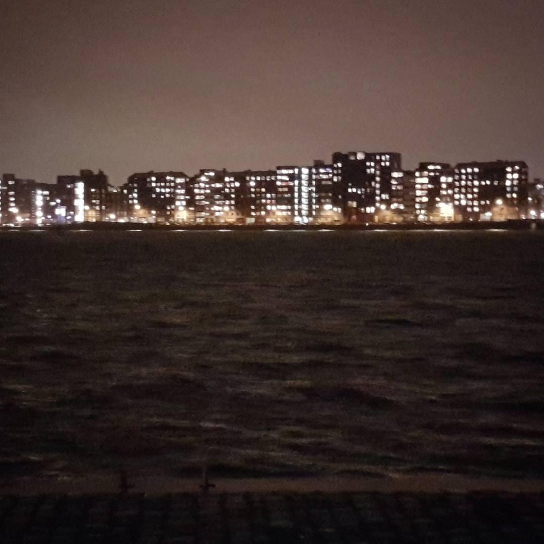 amsterdam, morze, światła, mrok