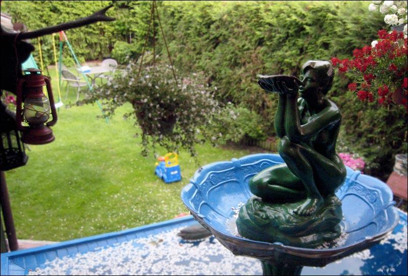 rzeźba, ogródek, fontanna, syrena