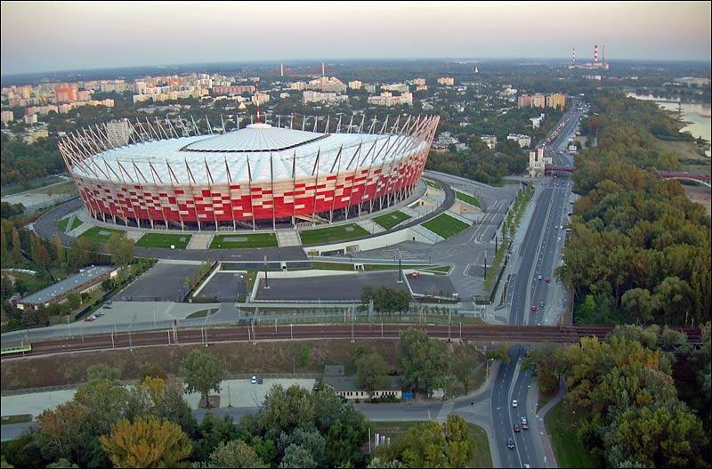 Stadion Narodowy w Warszawie - widok z balonu