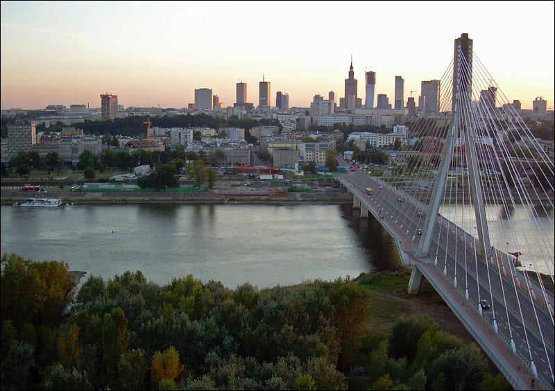 Warszawa Powiśle, Most Świętokrzyski, widok z balonu