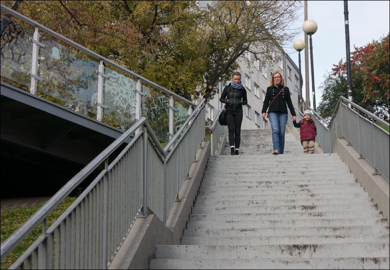 warszawa, powiśle, schody na bartoszewicza i kładka na tamce