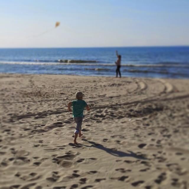 plaża, latawiec, wybrzeże, majówka