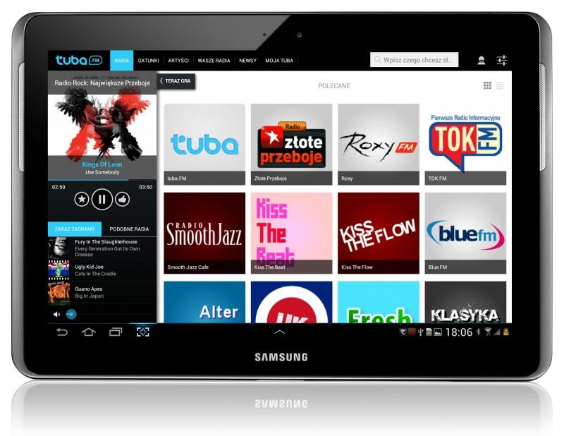 aplikacja muzyczna tuba.fm hd na tablety samsunga z systemem android 3+