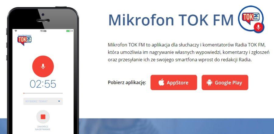 Mikrofon TOK FM, aplikacja mobilna