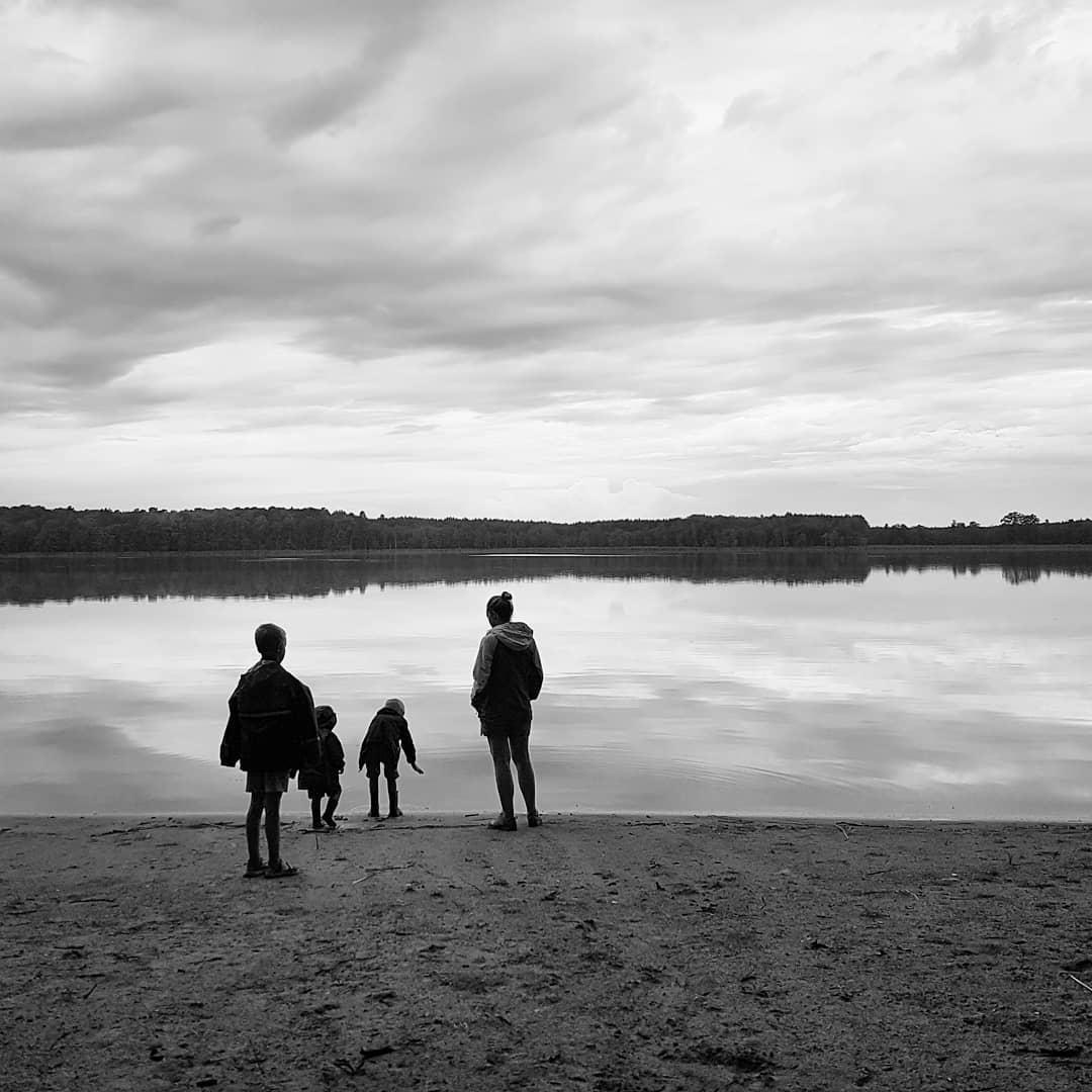 jezioro, rodzina, dzieci, niebo