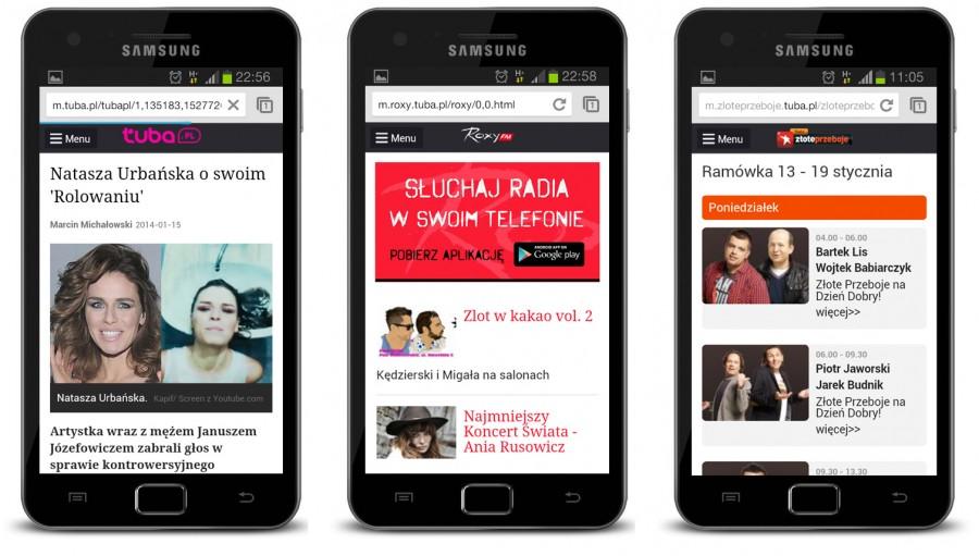 Radio Złote Przeboje, Radio Roxy, Tuba.pl - Strony mobilne