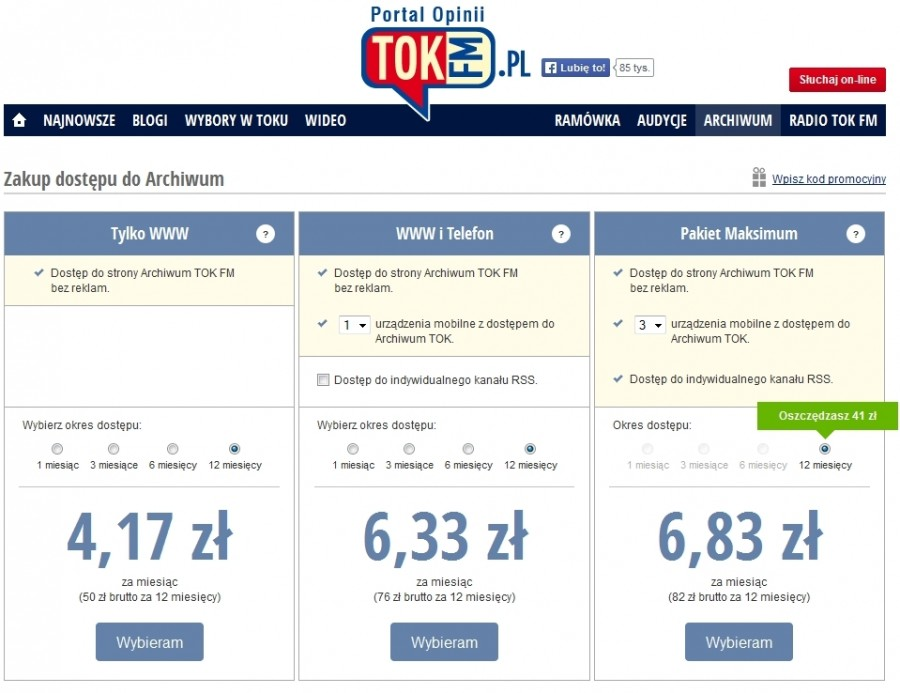 Tok FM Premium - formularz zakupu