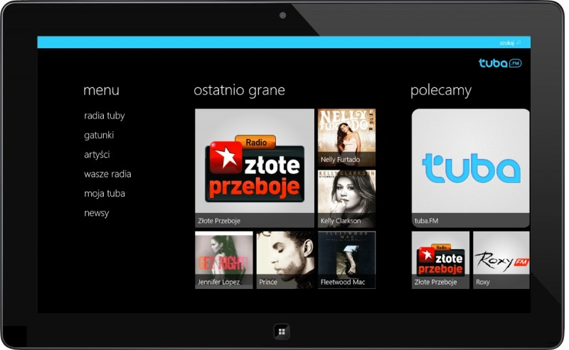 tuba.fm na windows 8 - ekran startowy