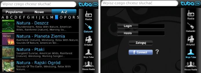 Aplikacja tuba.FM na telefony Blackberry